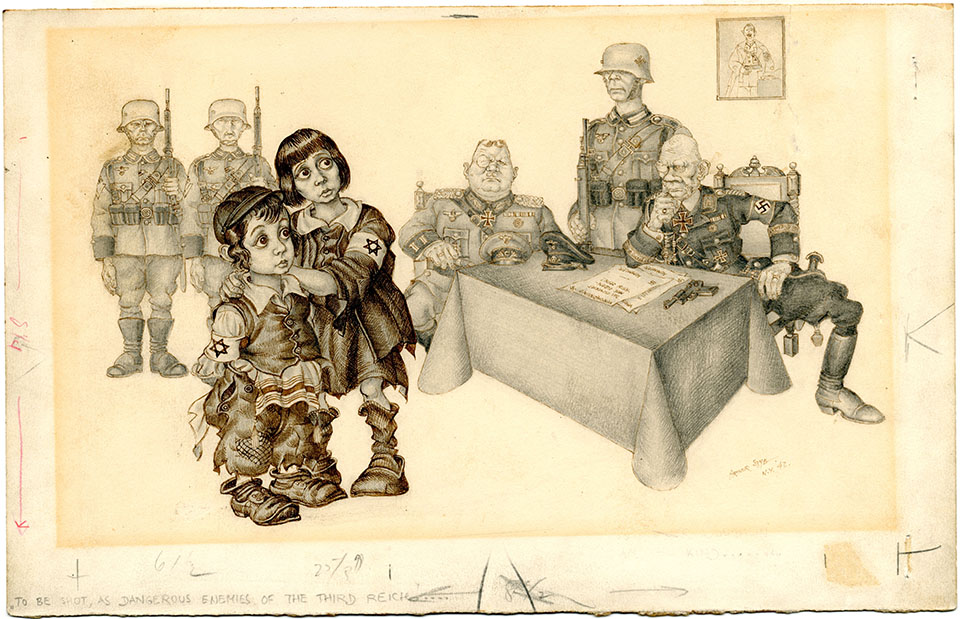 The work of Arthur Szyk, whose political cartoons lampooned Hitler,  resonates today