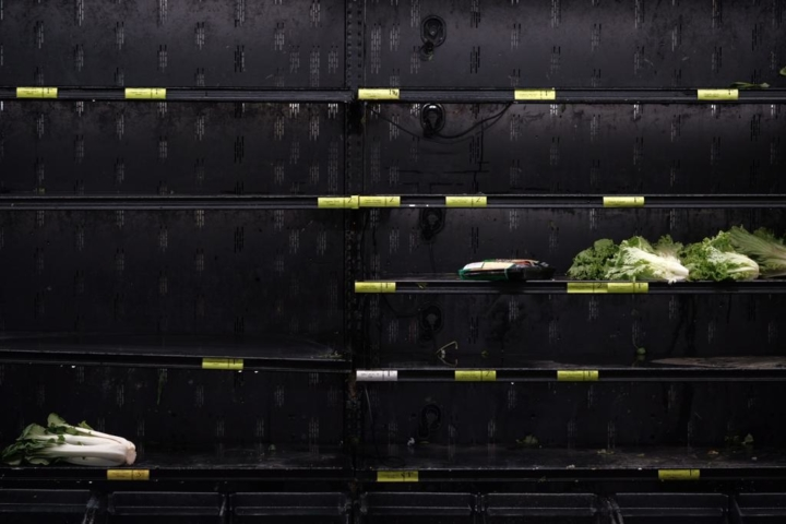 Nearly empty produce shelves at Whole Foods on Telegraph Avenue on March 17.