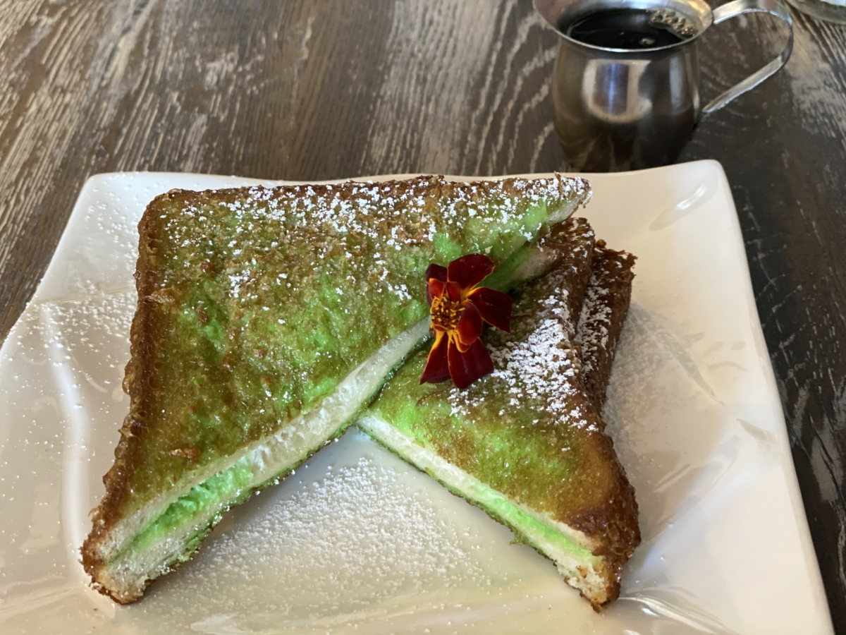 Pandan French toast at Saucy in Oakland.