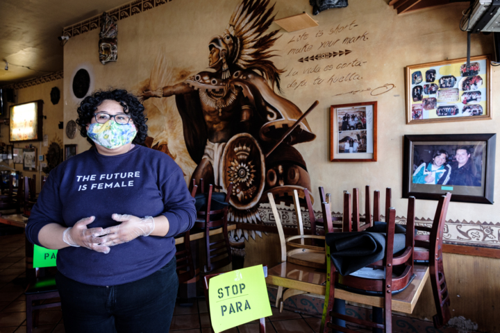 Mayra Chavez inside El Huarache Azteca, the Mexico City-style restaurant she runs with her mother in Fruitvale.