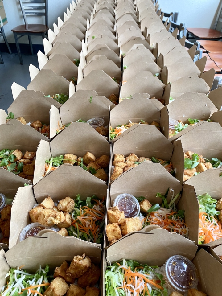 Tofu lunches made for World Central Kitchen's #ChefsForAmerica program, which feeds communities in need. Over the past three weeks, Monster Pho has made 1000 meals for WCK.