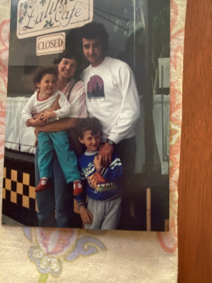 Cindy Lalime Krikorian and Haig Krikorian with son Aram and daughter Elaine, circa 1986, in front of Lalime's, then on Solano Avenue. Photo courtesy: Haig Krikorian