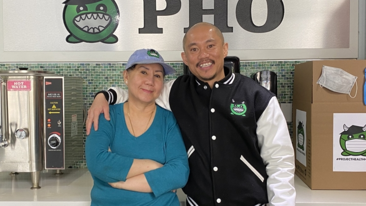 Monster Pho owner Tee Tran with his mother Tina Le.