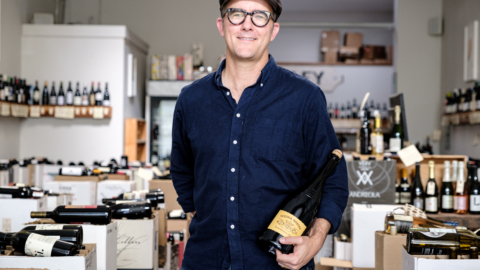 Wineshop Vintage Berkeley manager Dan Polsby holding a bottle of Vecchia Modena. Photo: Pete Rosos