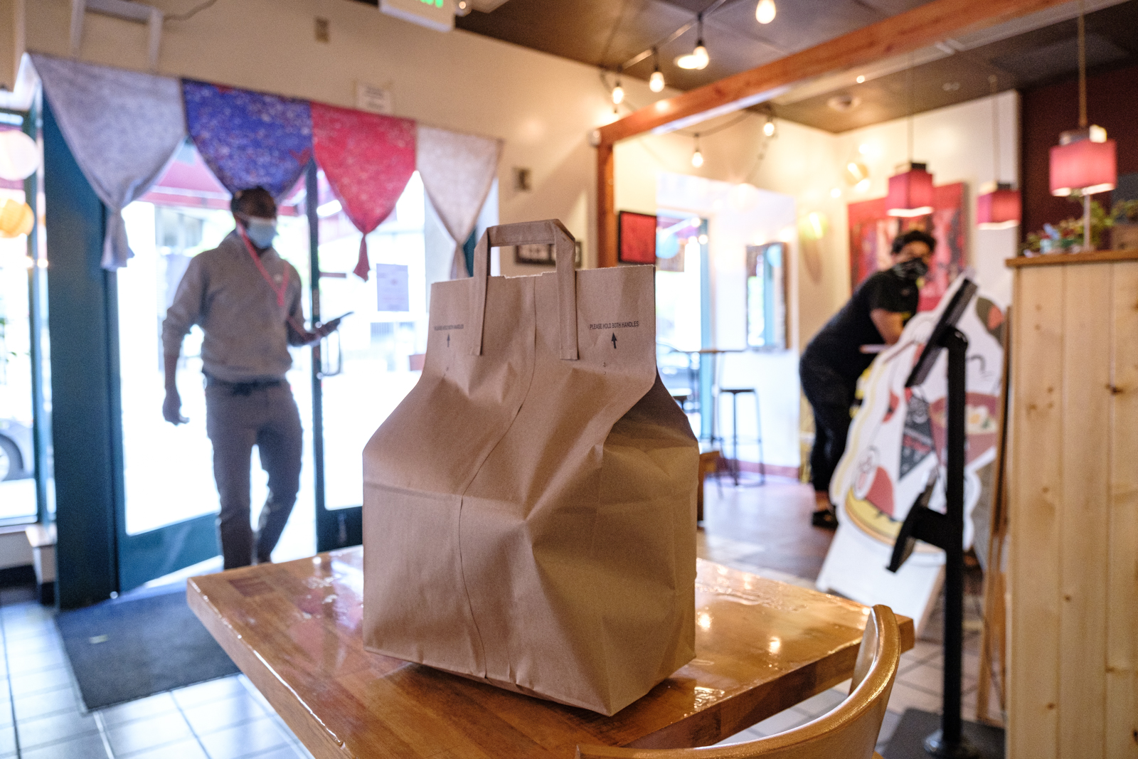 takeout order on table, food delivery