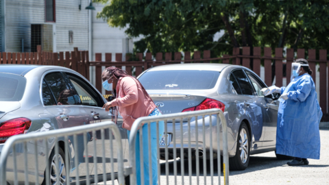 LifeLong Medical volunteers administer drive-through COVID-19 testing at the West Berkeley Senior Center