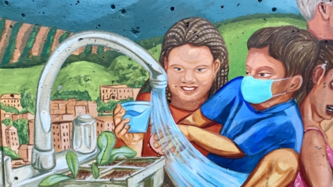 Painting of two children at a spewing faucet. One boy is wearing a face mask.