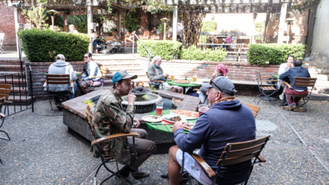 Customers on the back patio at Jupiter in Berkeley. Photo: Pete Rosos