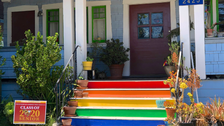 Rainbow color painted stairs
