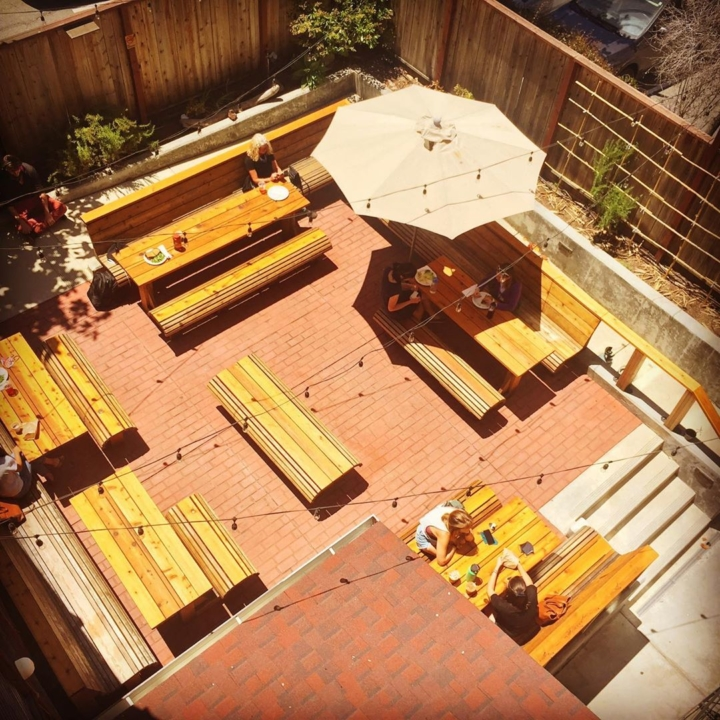 An aerial view of the back patio at Way Station Brew in Berkeley. Photo: Way Station Brew