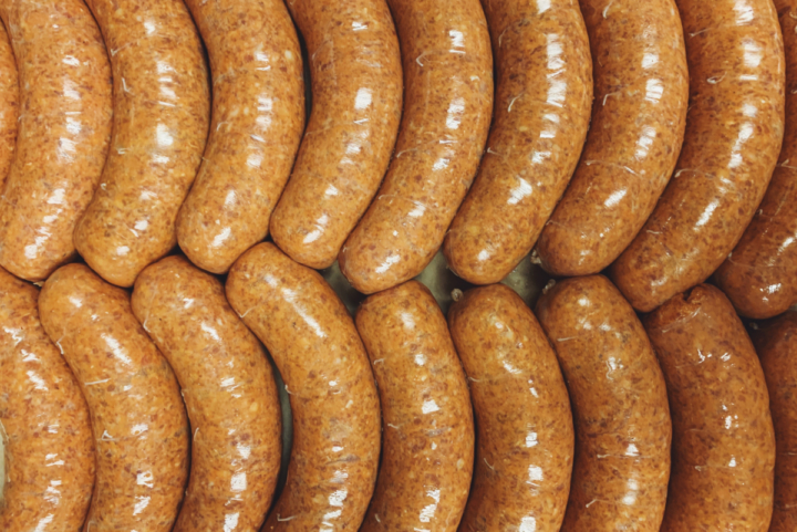 Rows and rows of Morcilla Vasca Basque-style sausages.