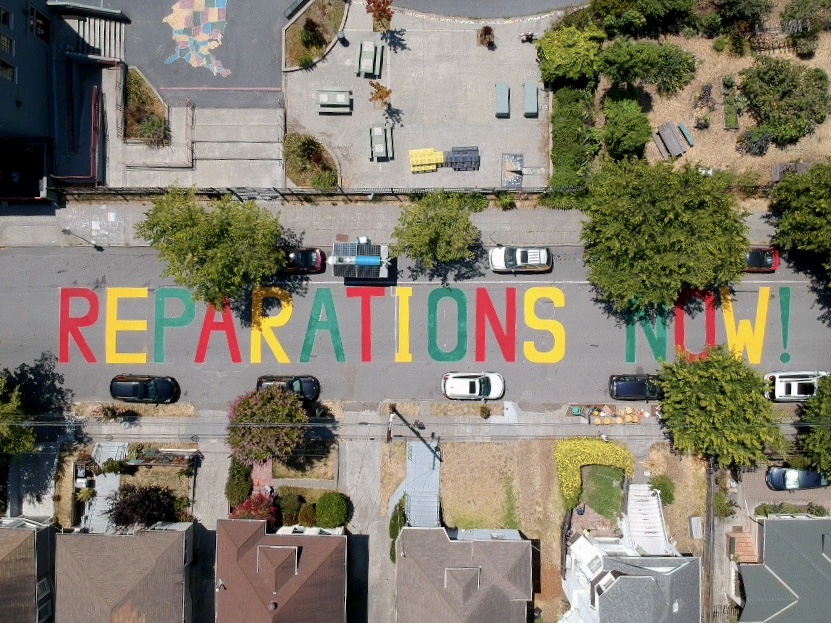 Reparations Now! mural painted on Ellis Street in South Berkeley