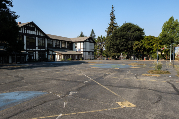 an empty school campus on the first day of school in distance learning