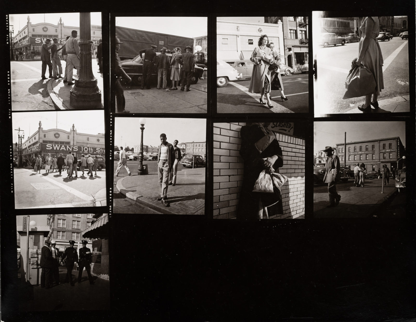 Downtown Oakland (from the Consumers and Relationships Series) Oakland, CA, 1951, Dorothea Lange, Gelatin silver print, Gift of Paul S. Taylor 7.75 in x 7.625 in. A67.137.93132 © The Dorothea Lange Collection, the Oakland Museum of California.