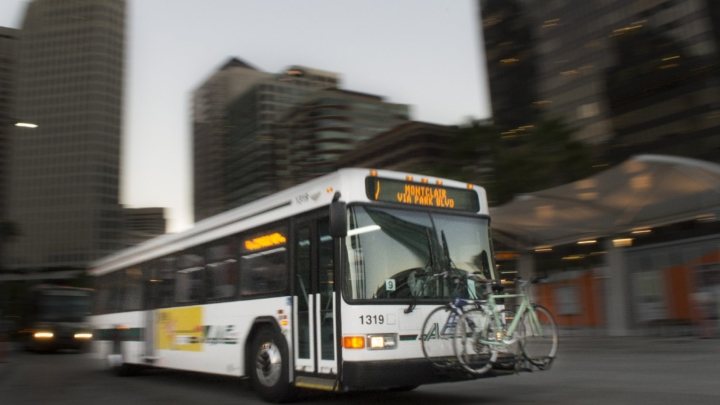 AC Transit bus with bikes on the front