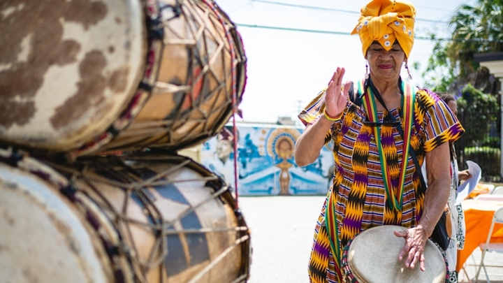 Female African drummer