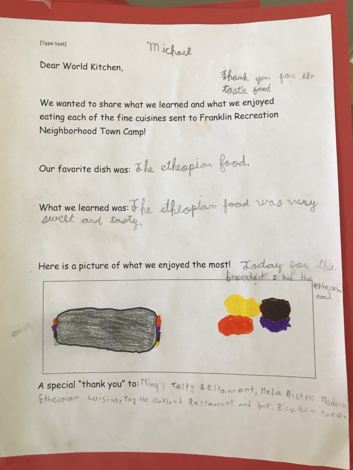 Review of a Kitchens Around the World meal from a Town Camp kid. Photo courtesy of Community Kitchens