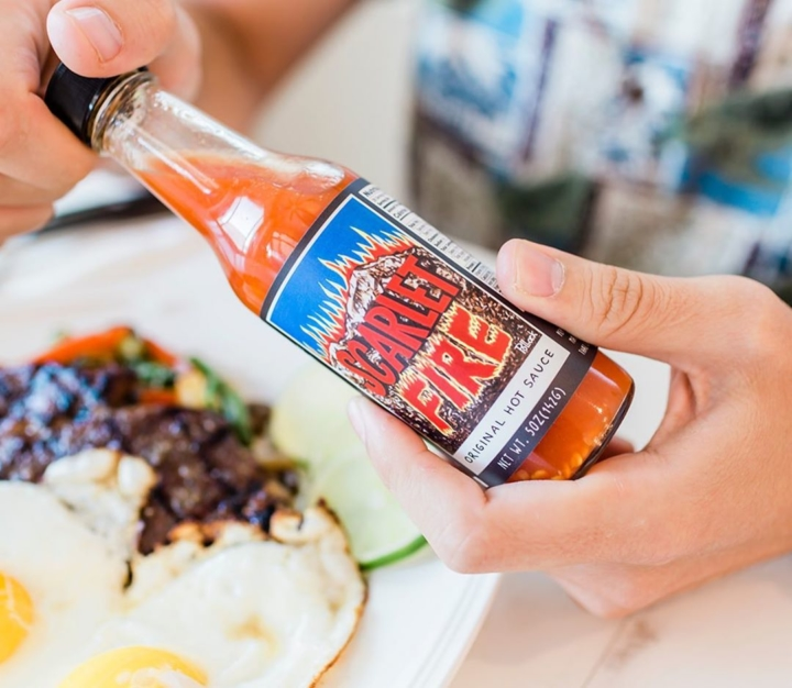 Scarlet Fire hot sauce is a vinegar-based blend of Fresno, habanero and Thai chiles. Photo: Scarlet Fire