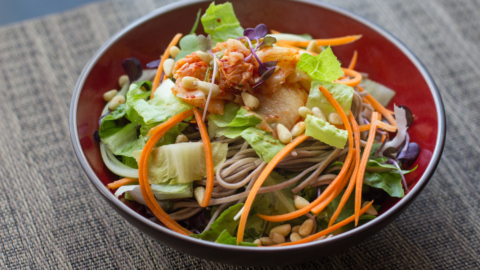 This Korean-style soba salad is inspired by a similar salad from Namu Gaji in San Francisco. Photo: Benjamin Seto.