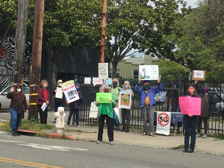 protesters against new small cell phone sites