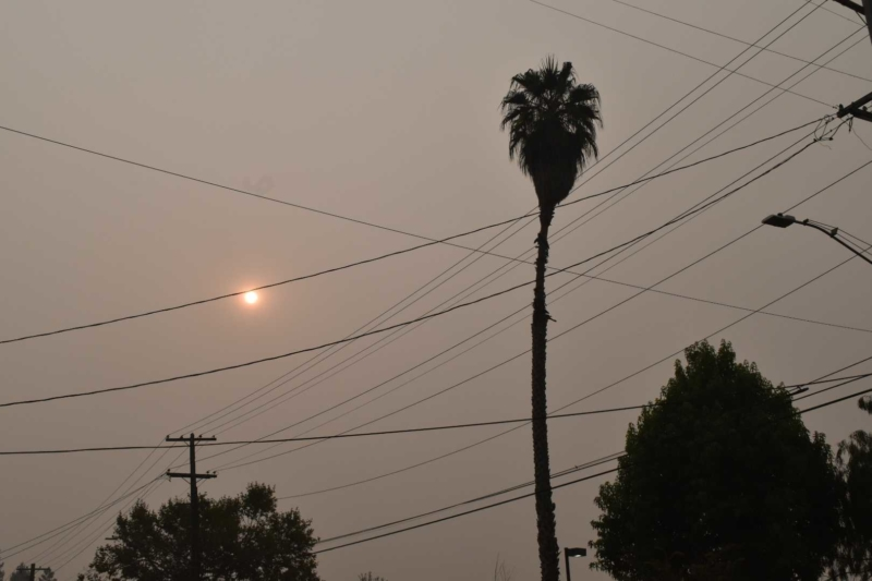 smoky skies and a red sun