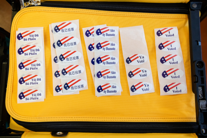 """I voted"" election stickers in many languages"