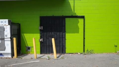 Bright green wall