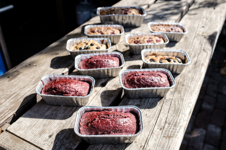 Red devil cake, blueberry basil and raspberry lavender breads from Onyx Hippie. Photo: Pete Rosos