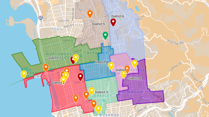 2020 Berkeley gunfire map with City Council districts overlayed