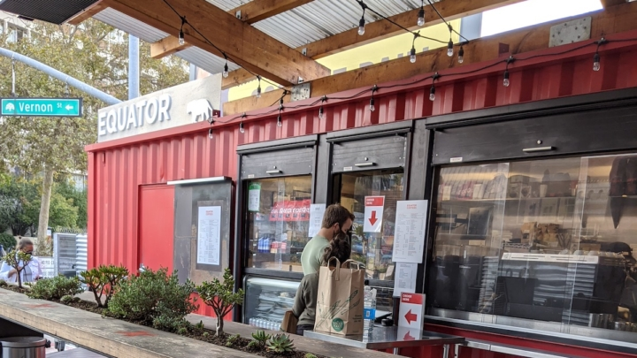 At Equator Coffees in Oakland, where four employees walked out on the job, citing racial inequity issues at the company. Photo: Brandy Collins