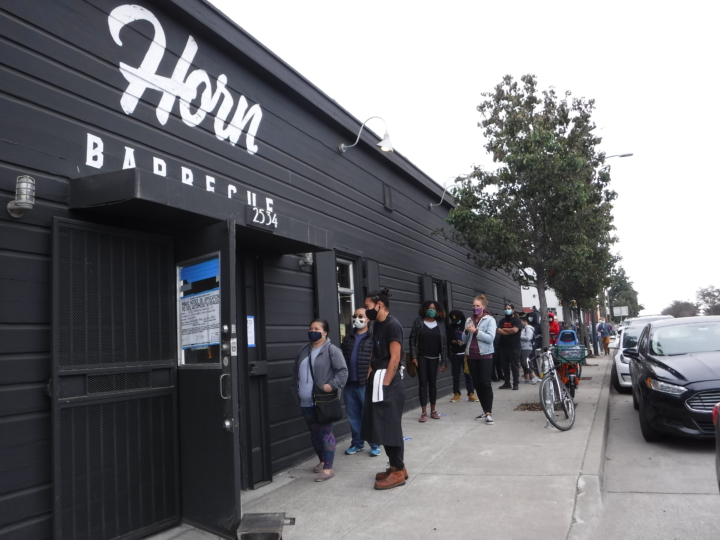 The line for newly opened Horn Barbecue, one of the East Bay restaurants that opened in October 2020.