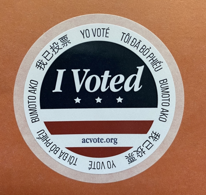 """Bring your """"I voted"""" sticker to any location of Super Duper Burgers for a free order of fries on election day. Photo: Sarah Han"""