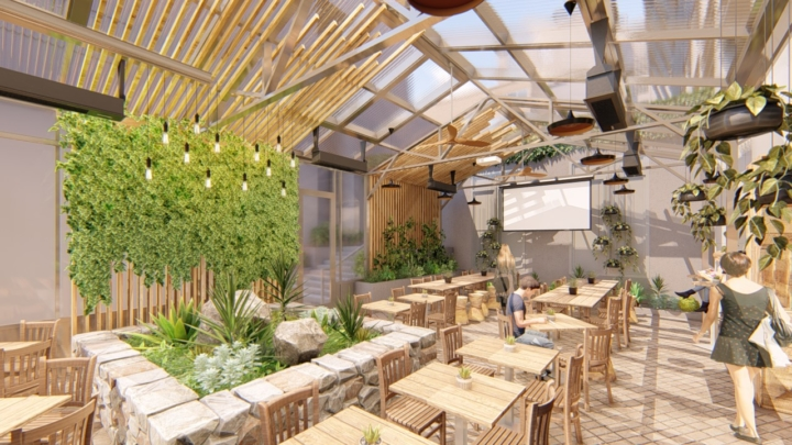 Design renderings of a new greenhouse at Gather. Image courtesy of Gather