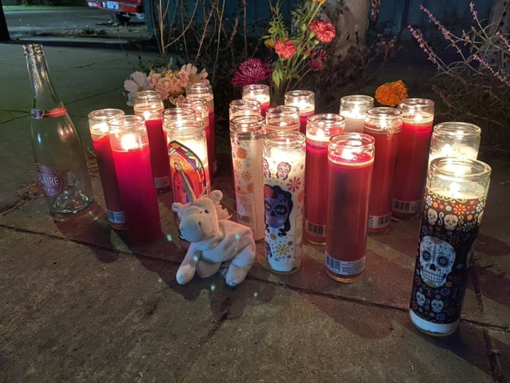 A memorial for Sereinat'e Henderson, who was killed in a drive-by shooting