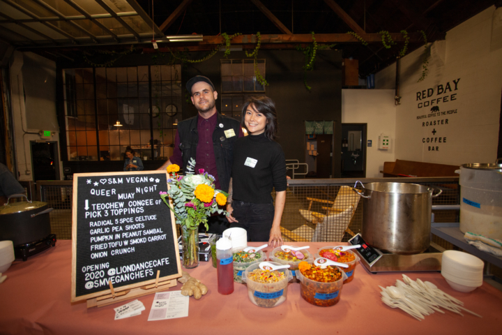 Lion Dance Cafe co-owners Shane Stanbridge and Marie Chia at an S+M Vegan pop-up. Photo: Dana Chang