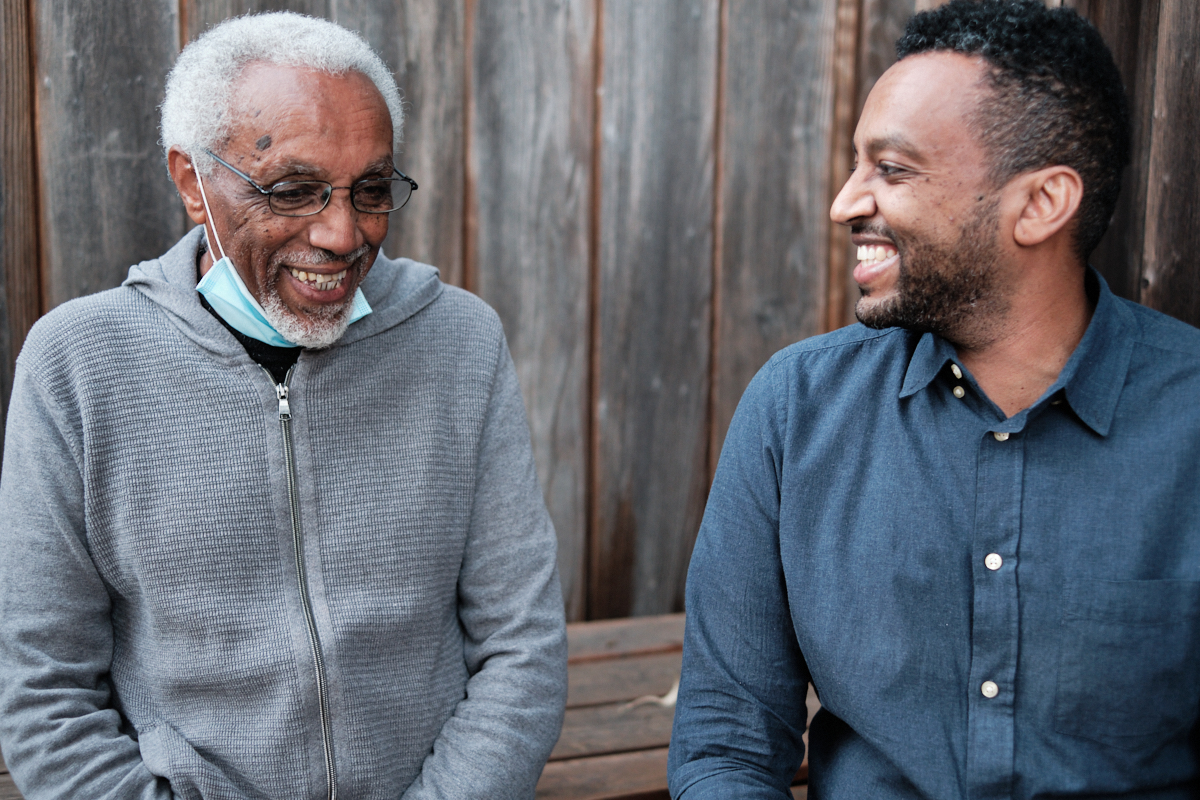 Charlie and Fidel Zawde, the father and son owners of Finfine Ethiopian restaurant in Berkeley.