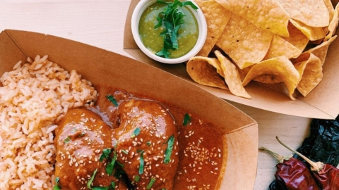 Mother-daughter team La Guerrera's Kitchen is serving up Mexican eats, like tamales and chicken mole rojo, at a new brick-and-mortar restaurant in Old Oakland. Photo: La Guerrera's Kitchen