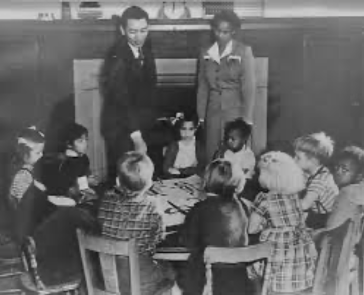 Ruth Acty with her students in a classroom