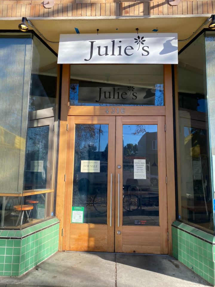 Julie's in Temescal is closed, but the original location in Alameda remains open. Photo: Sarah Han