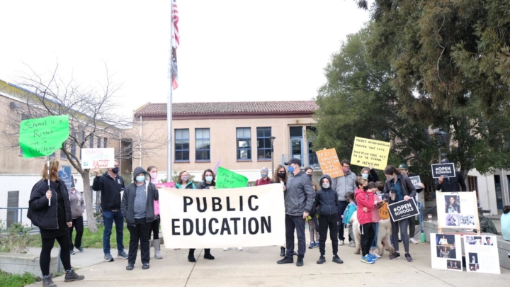 BUSD parent protest to reopen schools