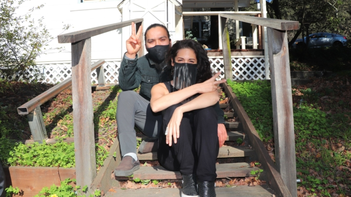 Raul Jacobo and Samar Nassar, who co-run Sammy's Pupusas, at their home in Oakland.