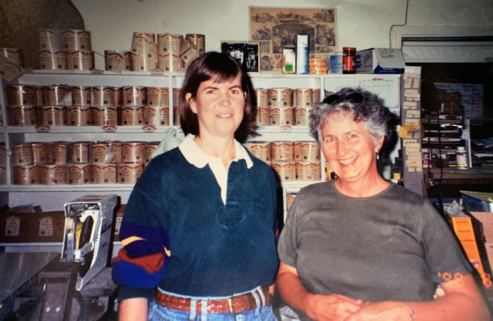 Kass Schwin and astronaut and Vital Vittles fan and NASA astronaut Janice Voss at the Vital Vittles bakery, 1998. Photo courtesy of Kass Schwin