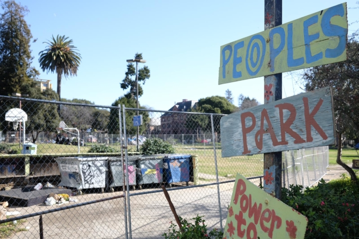 People's park sign and fencing