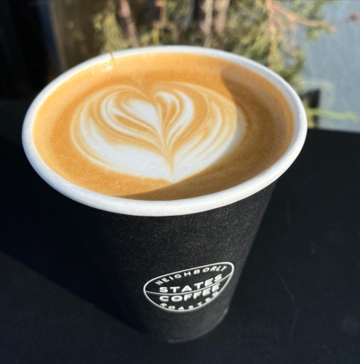 A latte from States Coffee. Photo: Emilie Raguso