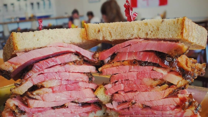 Montreal-style smoke meat sandwich from Augie's Montreal Deli. Photo: Augie's Montreal Deli