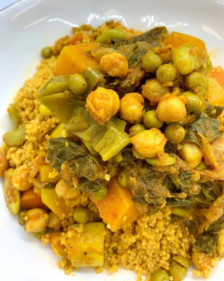 Maryam, a medley of stewed seasonal vegetables and legumes top a bed of couscous, from Dar Couscous in Oakland. Photo: Dar Couscous