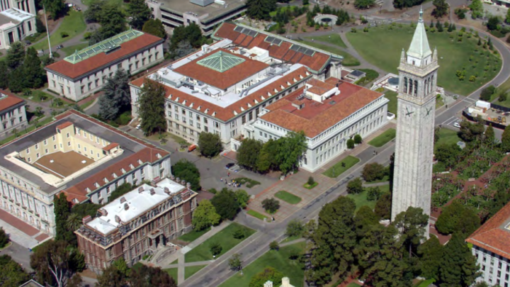 aerial view of Sather Tower and Campanile Esplanade at UC Berkeley