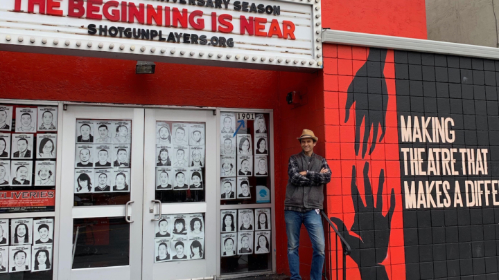Shotgun Players founding artistic director Patrick Dooley standing outside the renovated Ashby Stage