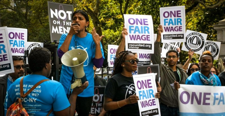 """Abby Ginzberg's new documentary """"Waging Change"""" features restaurant worker advocate, Saru Jayaraman, director of the Food Labor Research Center at UC Berkeley and founder of the One Fair Wage campaign. Photo: One Fair Wage"""