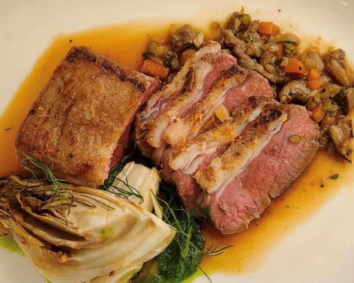 Lamb Loin with endive, citrus, smoked belly ragout and sorrel is one of the four courses Limewood chef Joseph Paire offers for the first Enlightened Dinner Series on March 5, 2021. Photo: Limewood Bar and Restaurant